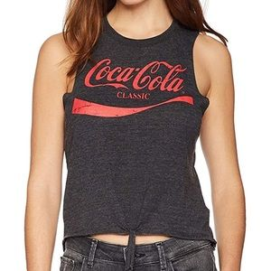 Chaser Coca Cola Tie Front Muscle Tank
